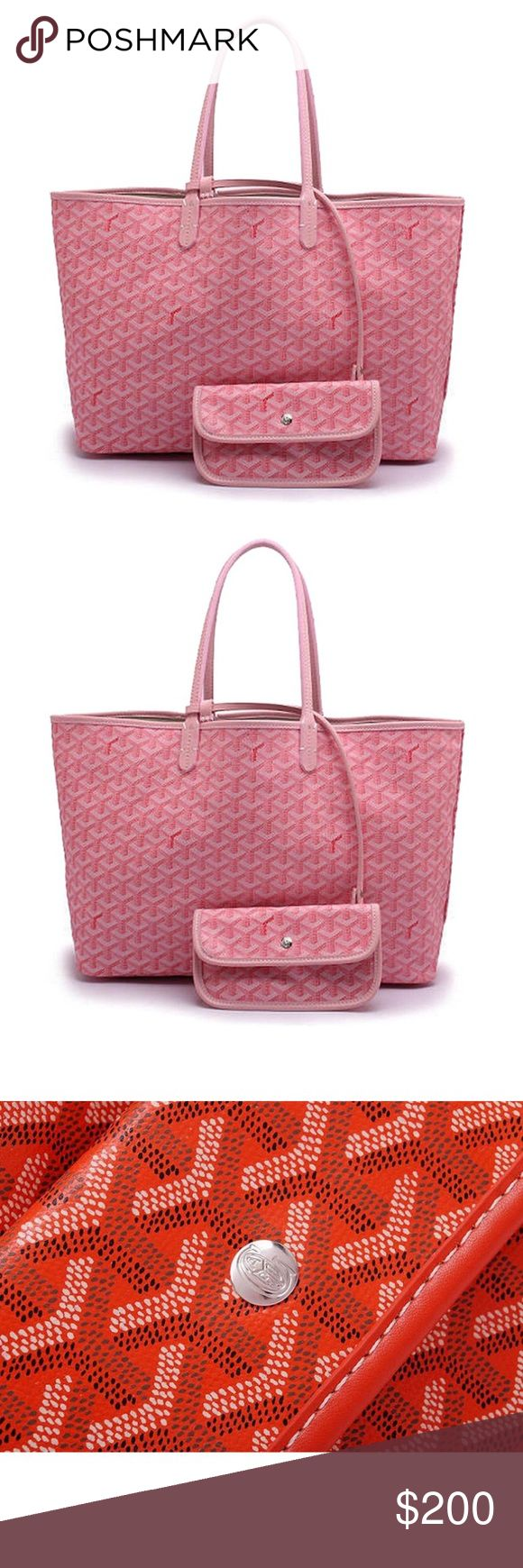Pink Goyard St Luis PM Tote w/Matching Wallet $200 This is an inspired Goyard Pm Tote with Wallet Attached in this Pretty in Pink Color. Very nice and Close to Actual Tote but for a fraction of the Cost! $200 instead of $2000. goyard Bags Totes