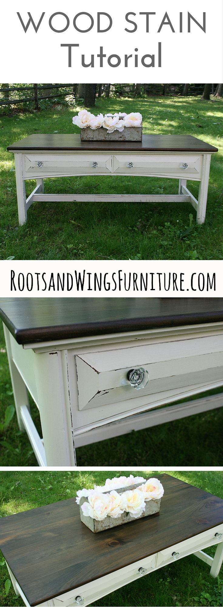 A video tutorial on how to refinish and stain wood.  By Jenni of Roots and Wings Furniture.