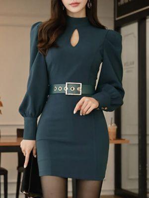 50f95599f6170 韓国スタイル♪長袖胸開きベルト付け着痩せボディコンワンピース ...