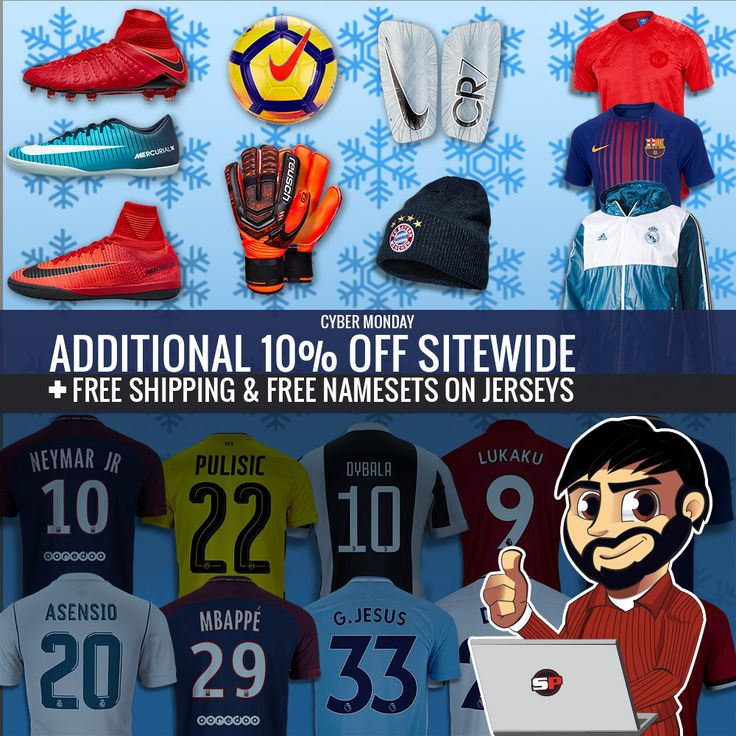 It's Cyber Monday! You know what that means! Deals for you from your fave online soccer store. Get an extra 10% sitewide + free shipping and free namesets on jerseys of your fave players. Shop now at www.soccerpro.com!