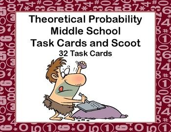 Lots of probability practice.  Your students are asked to give their answers in decimals, fractions,and percents.The 32 task cards can be used for scoot (directions included) or in your math center.  The fun caveman theme makes them engaging as your students solve for the probability in a number of circumstances and answer in a number of ways.Included:answer sheet for studentskeyscoot directions