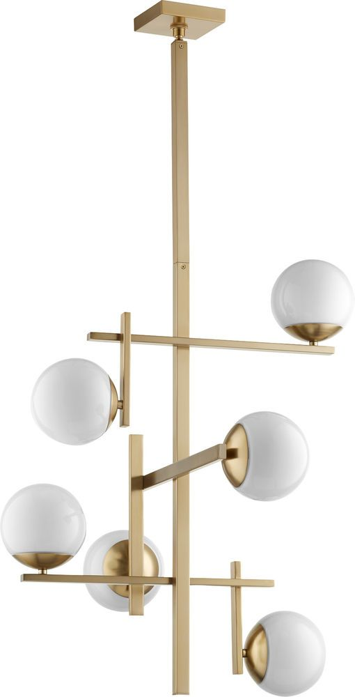 Collection: Atom. Finish: Aged Brass. Color: Aged Brass w/ Opal. collection: Atom. Glass: Opal. Style: Chandelier. Surface Finish: Aged Brass. Shade: Opal Glass Spheres. | eBay!