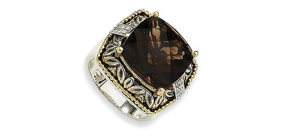 9ct Smokey Quartz Diamond Ring 14k Sterling Silver Gem on Etsy, $395.47 AUD