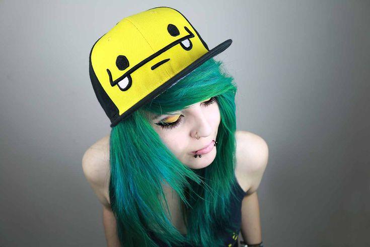 snapbacks emo   Cute Girl Cap Green Hair Blue Girly Snapback Scene Lady Woman