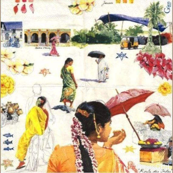 Single 1 geheel  servet Indiase vrouwen voor door Dalilasdecoupage