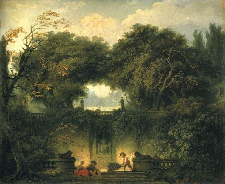 The Little Park at the Gardens of the Villa d'Este at Tivoli, oil on canvas by Fragonard, 1761-1762