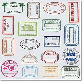 The Large Passport Stamps & Visa Stickers offer a bigger size for craft projects with an international flair. Have a great time imagining youve traveled to exciting destinations. Includes 18 different stickers from worldwide destinations.