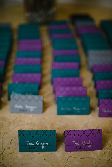 DIY #purple #teal #charcoal wedding escort cards. Photo by Dani Leigh Photography