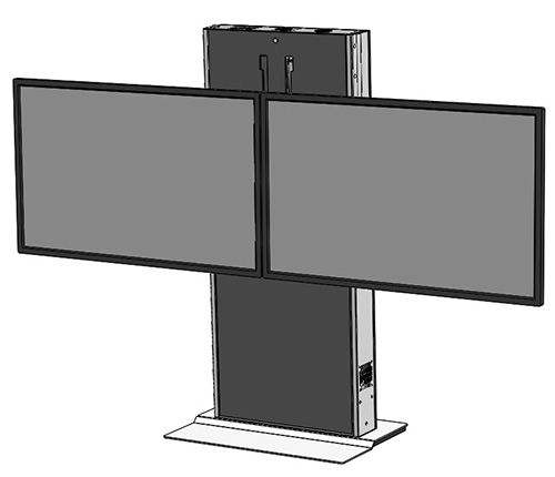 The LFT7000FS-D heavy duty fixed lift stand for dual TV's and interactive displays. Featuring a fixed weighted base ideal for open areas and digital signage. Ideal for environments where adjustable height or ADA is required