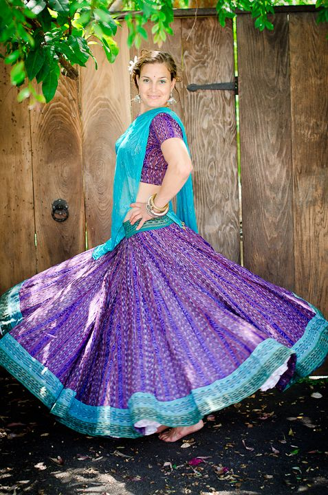 Ikat Gopi Skirt Outfit – Deep Purple