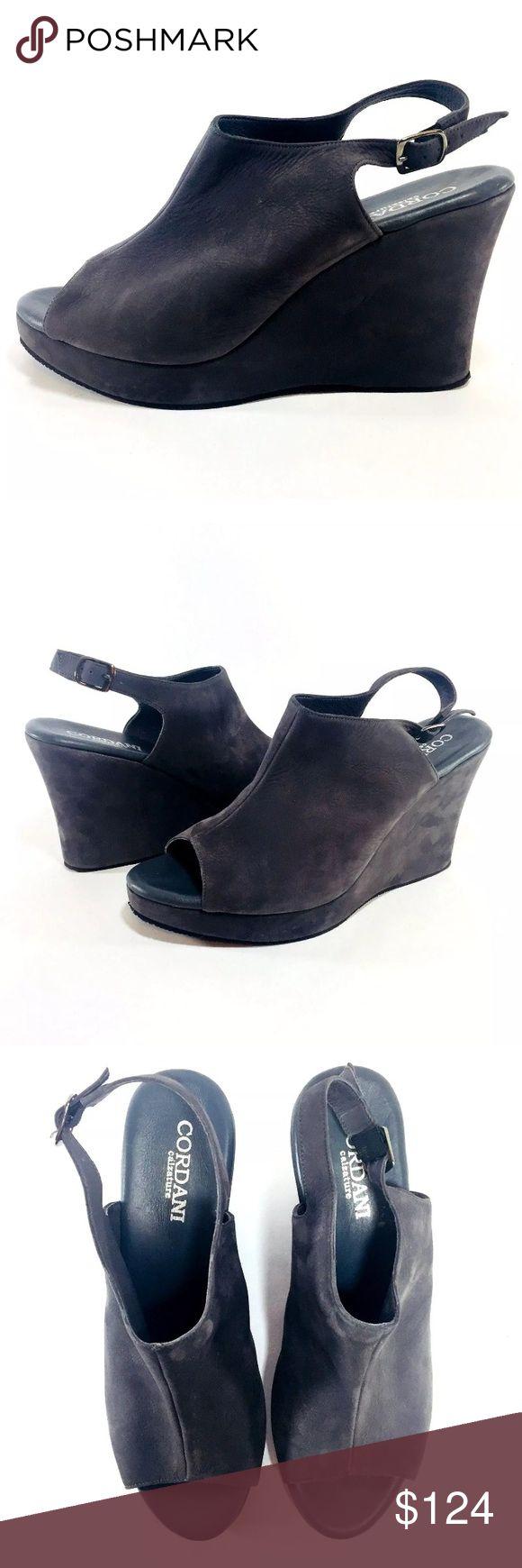 Cordani Wellesley Charcoal Gray Wedge Size 40/9 Charcoal Gray Nubuck Suede ankle strap peep toe wedge. Size 40/9US Cordani Shoes Wedges