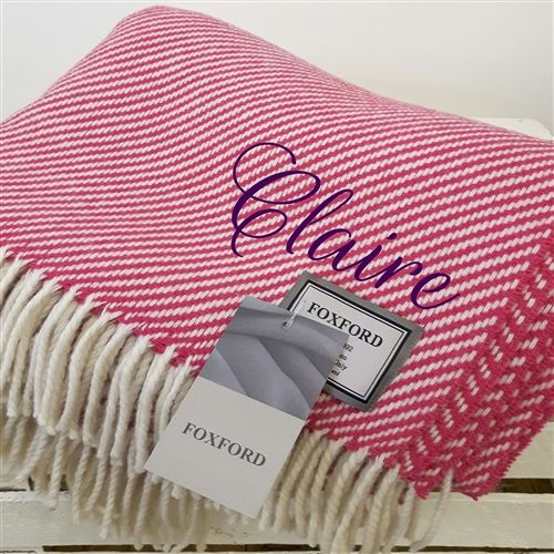 Luxurious Foxford Throw beautifully embroidered with name. A special Mother's Day Gift. WowWee.ie | €110