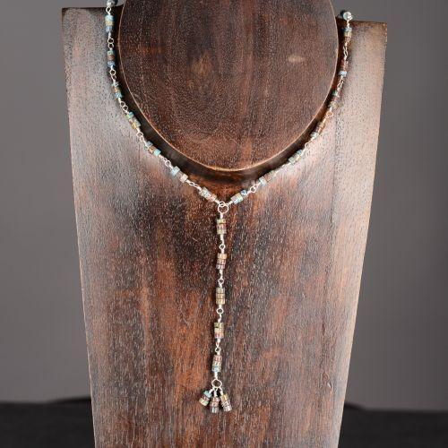 Larimar Blue Jasper Necklace  My #handmade Sterling silver wrapped 3 heisi bead larimar blue #jasper Y necklace, finished with a tassel.  Finished with a handmade S hook