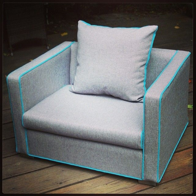 It's hip to be square : recently recovered large tub chair in grey & teal.