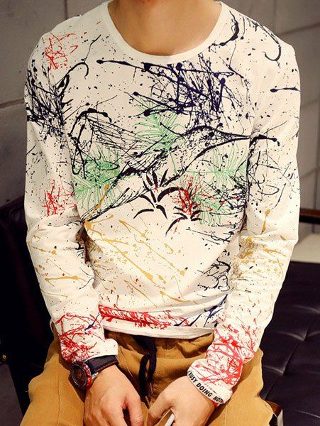 Slimming Round Neck Colorful Splash-Ink Print Long Sleeve T-Shirt For Men