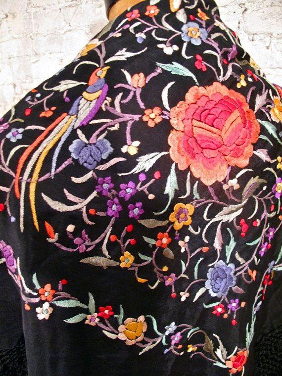 20s Embroidered Silk Spanish Shawl