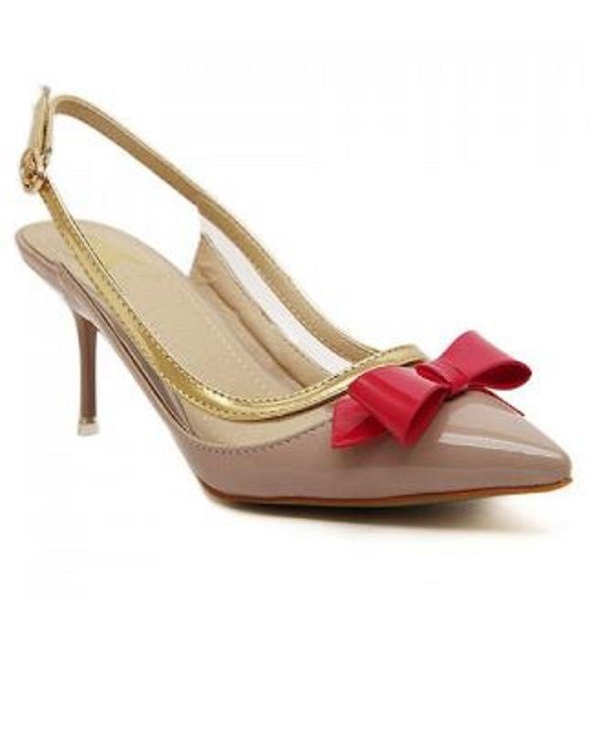 Stylish Red Bow Slingbacks Design Pointed Toe Women's