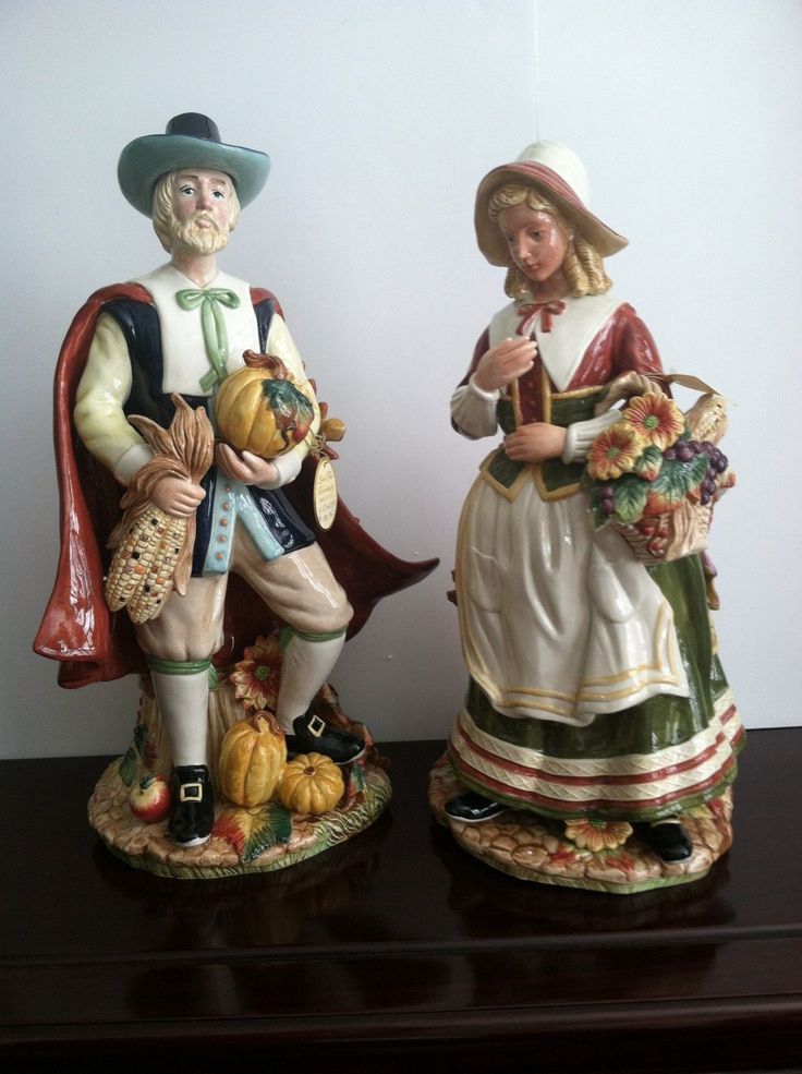 Fitz And Floyd Harvest Heritage Pilgrim Male And Female Figurine Set New In Box Ebay Fitz