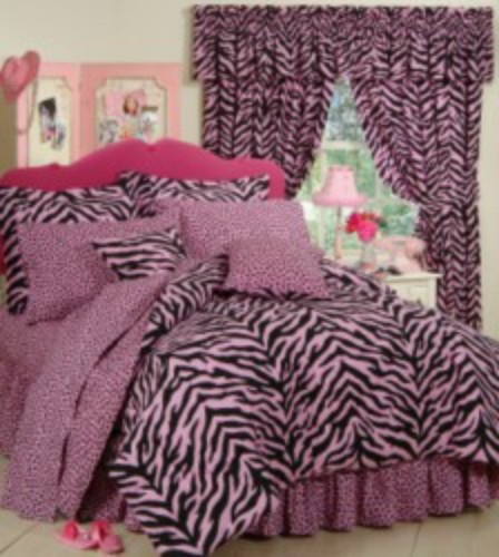 Pink and Black Zebra Stripe Bedding