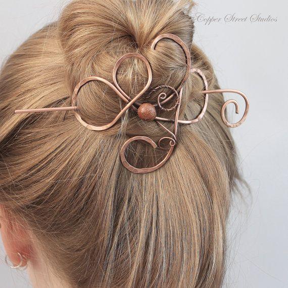 Chocolate Goldstone Hair Slide Copper Hair by CopperStreetStudios