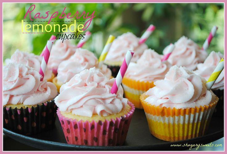 Raspberry Lemonade Cupcakes- #Lemon #cupcakes with #raspberry lemonade frosting @shugarysweets