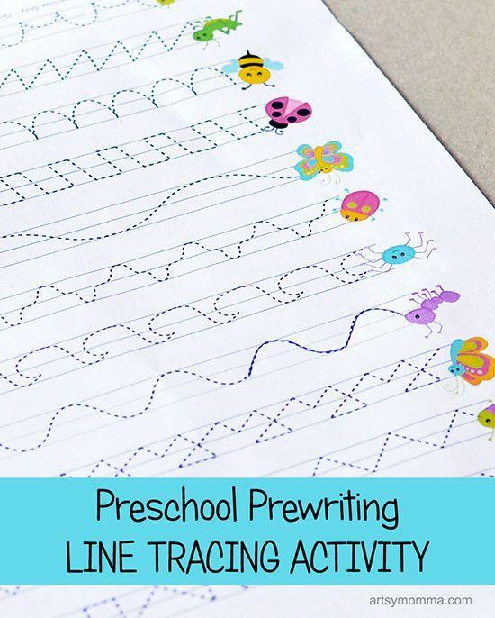 preschool prewriting line tracing printable activity bug theme - Tracing Activities For Kids
