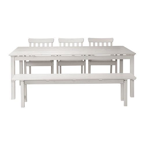 For the back deck... white?  I can't decide.  ÄNGSÖ Table with bench and 3 chairs - white - IKEA