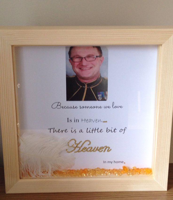Wall art ~ Personalised memorial gift shadow box frame ~ because someone we love is in heaven ~ home or office decoration by FunkyDesignsbyDi on Etsy