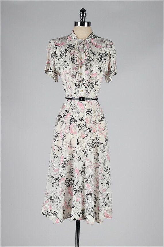 vintage 1940s dress . sea life print silk . by millstreetvintage