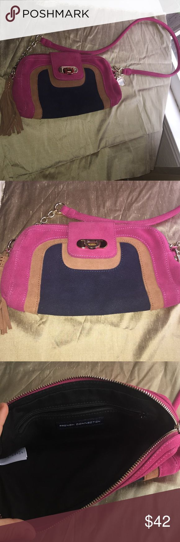 SALE! French Connection purse French Connection pink suede leather purse. Strap is perfect for shoulder/crossbody. Has an internal zipper pocket. Fringe hanging detail. Amazing look! About 10.5 inches wide and about 7 inches high. pair it with a body con dress for a night out! Excellent condition. French Connection Bags Shoulder Bags