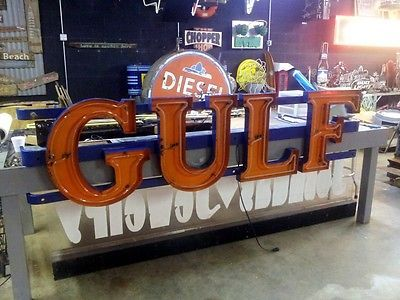 Vintage Original Gulf Gas Oil Porcelain Neon Gas Station Sign Texaco for USD12500.00 #Collectibles #Advertising #Gas #Porcelain  Like the Vintage Original Gulf Gas Oil Porcelain Neon Gas Station Sign Texaco? Get it at USD12500.00!