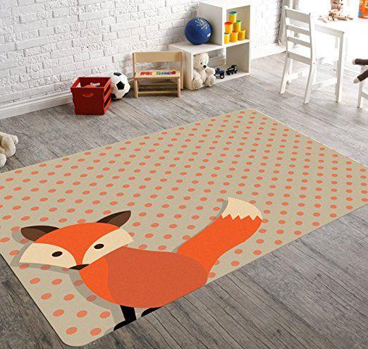HawkerPeddler Nursery Playroom Children Woodland Animal Fox Orange 5ft x 8ft Mat
