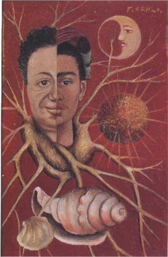 """* Frida Kahlo - Diego and Frida - 1929-44:""""Les deux moitiés des visages ne coïncident pas, leur alliance toute factice, ne tient que grâce à une sorte d' arbre-collier qui emprisonne à la manière d'une couronne d' épines"""" G De Cortanze"""