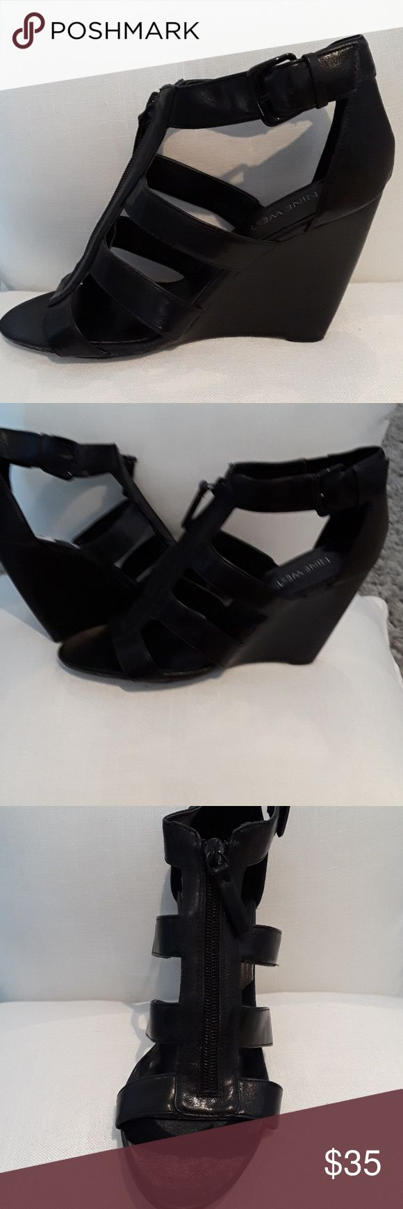 TONIGHT ONLY Nine West Black Strappy Wedges LIKE NEW Nine West Black Strappy Wedges SIZE 8.5 Very Versatile Wedges for day or night and really comfortable!!!! Nine West Shoes Wedges
