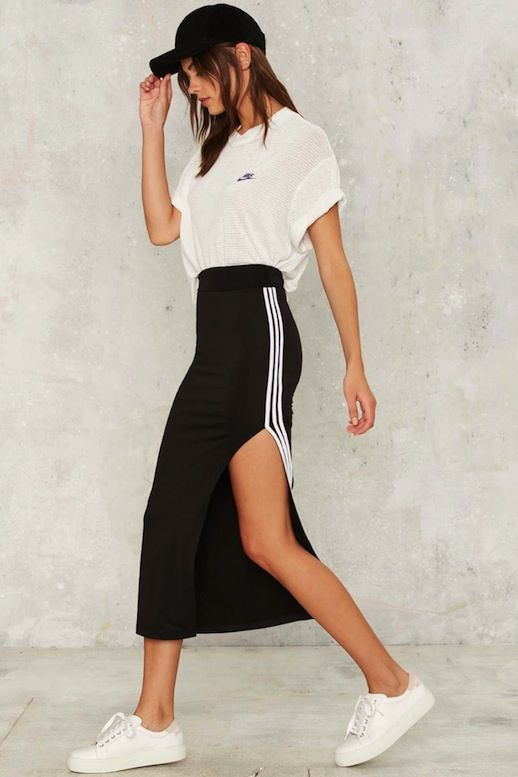 style a graphic tee with a sporty skirt for an elevated and stylish look.