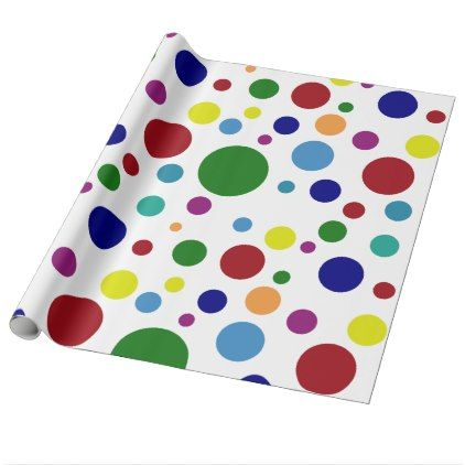 Festive Colorful Dots in Different Colors on White Wrapping Paper - christmas wrappingpaper xmas diy holiday