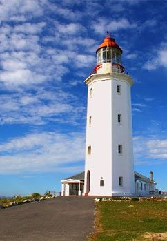 Dangerpoint Lighthouse built was in 1895 - After more than 20 ships had been wrecked off this treacherous stretch of Cape coastline, Danger Point Lighthouse was built in 1895 in order to alert shipping to the presence of Danger Point reef