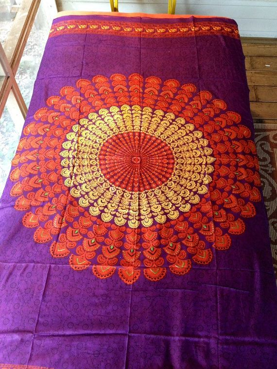 Bohemian Hippie Tapestry Fabric Colorful Starburst Pattern - Purple (Reduced) on Etsy, $18.00