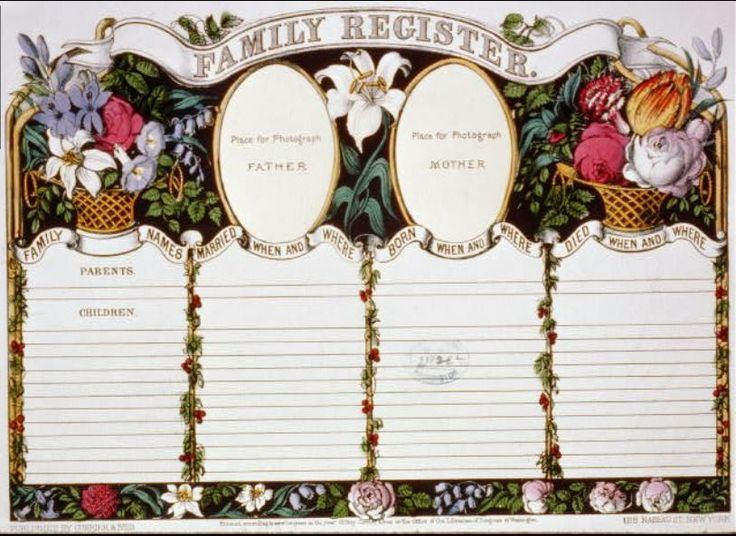 Currier & Ives Family Register Page, 1874