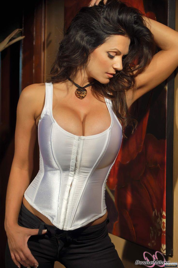 denise milani white corset - Google Search