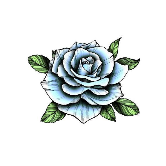 Blue Vintage Rose – Temporary Tattoo / Rose Tattoo/ Bluer Rose Flower/ Blue Rose Tattoo/ Floral Tatt