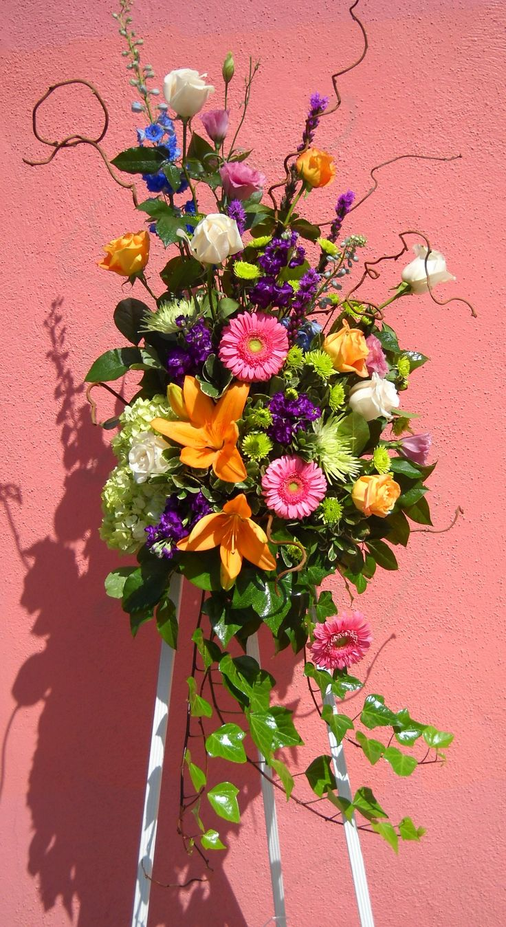 20 best wiece pogrzebowe images on pinterest funeral flowers stand a beautifully bright and sunny standing spray is perfect for celebrating a wonderful life this stand includes many different garden type flowers izmirmasajfo