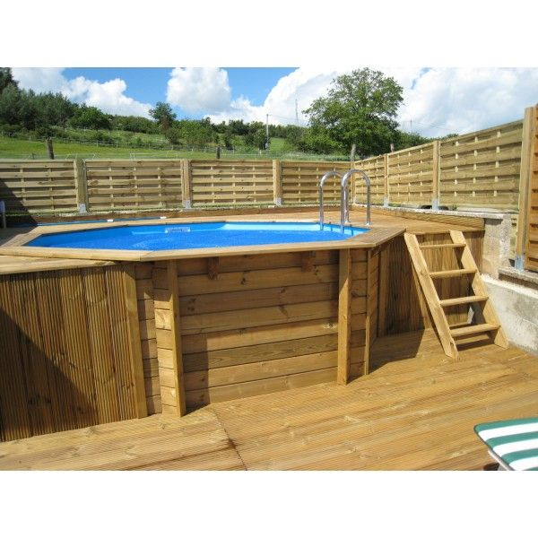 piscine ronde ocea 430x120 liner bleu outside pool pinterest piscine bois amenagement