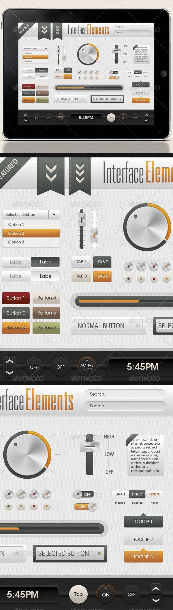 A wonderful assortment of UI elements that can be used anywhere. This specialty package includes everything from sliders to big sh