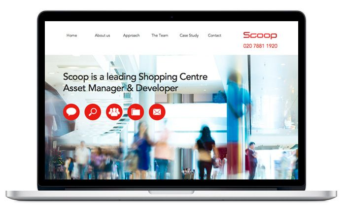 Scoop website home page with its colourful images