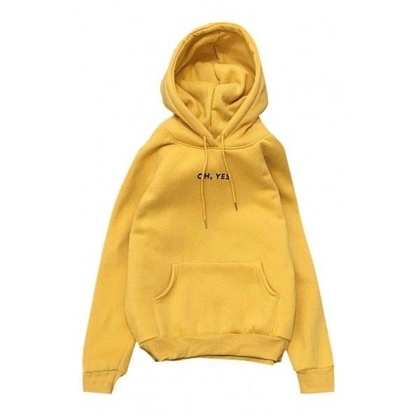 New Leisure Letter Long Sleeve Warm Comfort Hoodie ($30) ❤ liked on Polyvore featuring tops, hoodies, hooded pullover, long hooded sweatshirt, yellow long sleeve top, long sleeve tops and hooded sweatshirt