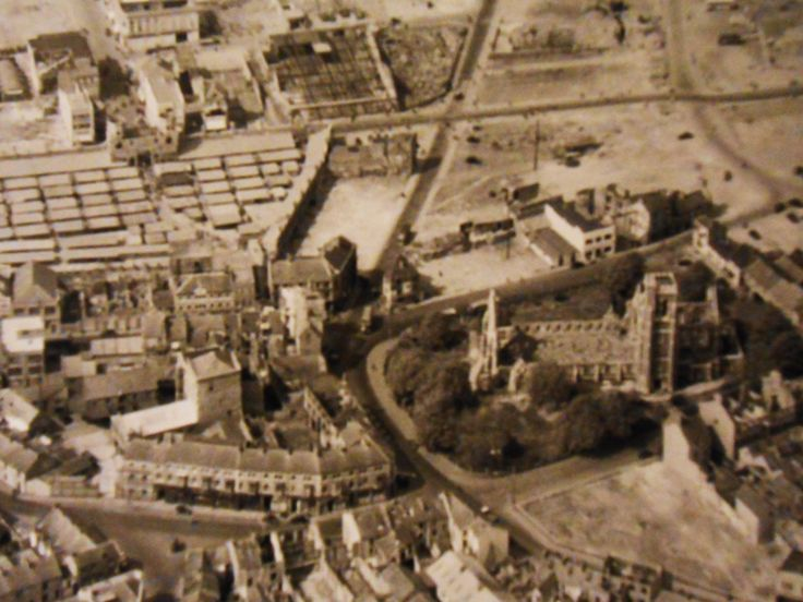 Post Swansea Blitz of 1941. The area to the left of St Mary's Church is