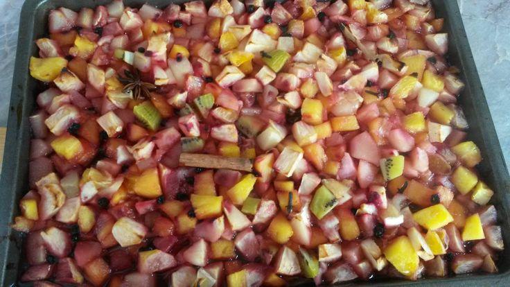 namíchala jsem asi 1 kg jablek a hrušek, 2 oloupané citróny, 1 mandarinku, 1 kiwi, 1 ananas - ten mi chutná nejvíc, hrst mražených borůvek - ty mi zajistí, že čaj bude mít červenou barvy, 2 badyány (stačil by i jeden), 6 hřebíčků, 2 skořice a cukr, dnes jsem dala třtinový, minule moučkový, záleží jak máte ráda sladké, mě stačí 200 - 300 gramů  peču pak v troubě na 180 - 200 stupňů cca 45 - 60 minut, po vytažení přiliju  panáka ruma a plním horké do sklenic, které pak otočím víkem dolů