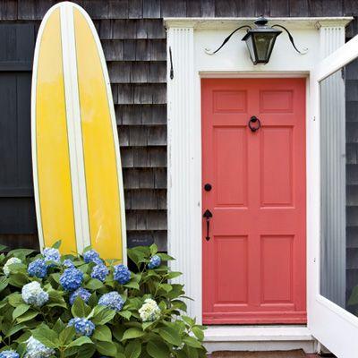 Surfboard: Beach House, Idea, Exterior, Frontdoors, Surfboard, Front Doors, Coral Door