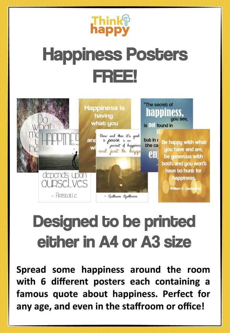 FREE DOWNLOAD! 6 x posters each containing a famous quote about happiness. Available through Think Happy's shop on Designed By Teachers #DBTFreebie